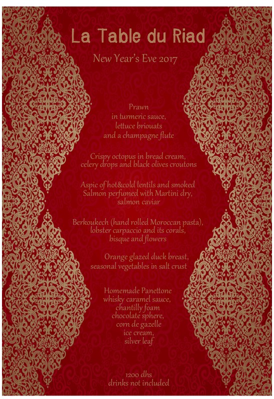 New Year's Eve menu at restaurant La Table du Riad by Riad 72 in Marrakech