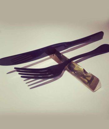 Gold metal cutlery